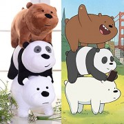 Set of 3 We Bare Bears Plush Toy Grizzly Panda Ice Bear Stuffed Soft Doll 12x25cm