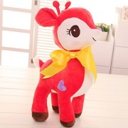 "seemehappy Little Sika Deer Plush Dolls with Big Bow Stuffed Animal Deer Toys Christmas Gifts Birthday Gifts 12"" Red"