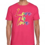 Bellatio Decorations Gay pride Love is love shirt roze heren