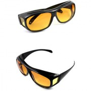 HD Night Vision Wrap Around Best Quality Glasses In Best Price Yellow Color (Pack Of 2)