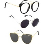 Rich Club Cat-eye, Round Sunglasses(Black, Grey)