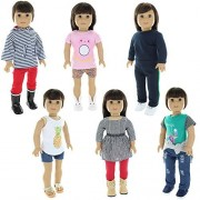 Doll Clothes - 6 Casual Outfits Clothing Sets Fits American Girl Doll, My Life Doll and other 18 inch Dolls