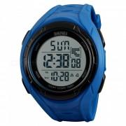 SKMEI 1313 Reloj deportivo digital de tiempo dual impermeable para hombres de 50M con luz EL - Negro