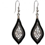 Lucky Jewellery Trendy Silver Oxidised Plating Black Color Earring For Girls Women