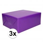 Shoppartners 3x Kadopapier paars 200 x 70 cm op rol