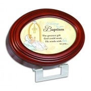 Baptism Love Precious Moments Wood Finish Oval Jewelry Music Box Plays Tune Jesus Loves Me by Cottage Garden