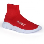 MR.SHOES 1836-RED METALLIC KNIT HIGH-TOP SOCK SNEAKERS