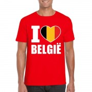 Bellatio Decorations Rood I love Belgie shirt heren