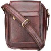 MASKINO Stylish Genuine Leather Brown Laptop Briefcase by Maskino Leathers (SB003) Waterproof Shoulder Bag(Brown, 12 inch)