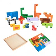 TOYMYTOY Wooden Zoo Animals Building Blocks Toys | Nesting Jigsaw Puzzle Board for Kids