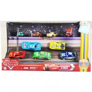 """Disney Pixar Movie Series """"Cars"""" Exclusive Piston Cup Nights Racing Series Speedway 9 Pack Set With Dash Boardman, Houser Boon, Tim Rimmer, Timothy Twostroke, Lightning Mc Queen, The King, Chick Hicks, Sidewall Shine No.74 And Clutch Aid No. 121"""