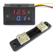 Nastaviteľný Voltmeter + Ampérmeter kombinovaný 4,5 V – 100 V s 50A bočníkom