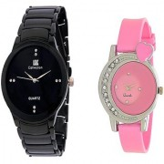 IIK Collction Black Men and Golry Diamond Round Pink Couple Watches for Men and Women