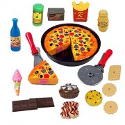 HALO NATION® Pizza Cutting Play Toy - Play Food Party Pretend Play Toy for Kids