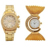 Paidu Gold and Fency Zulla Gold Analog Couple Watches for Men and Women