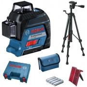 Bosch GLL 3-80 + BT 150 Nivela laser cu linii, 30m, receptor 120m, precizie 0.3mm m