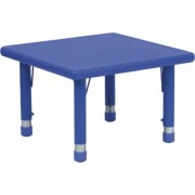 Flash Furniture Preschool Square Activity Table with Height-Adjustable Legs - Blue, 24Inch W x 24Inch D x 14 1/2Inch-23 3/4Inch H, Model