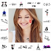 KINGHORSE Kids Tattoo StickersKINGHORSE Temporary Tattoos for Party Decorations-8 Sheets Colorful Mixed Designs Included LettersHeartCatFishStarFootprintLips Tattoo Sticker