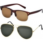 Freny Exim Clubmaster Sunglasses(Brown, Green)