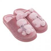 Fenical zapatillas de felpa zapatillas de conejo de dibujos animados zapatos suaves y cálidos para mujer