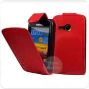 Samsung Galaxy mini 2 S6500 Flip Калъф Червен + Протектор