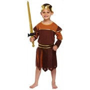 Fancy Me Boys 4 Piece Roman Soldier Gladiator Historical Book Day Fancy Dress Costume Outfit 3-12 Years (10-12 Years) Brown
