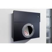 Radius Design Letterman 1 Briefkasten schwarz (RAL 9005) mit Klingel in rot ohne Pfosten