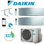 Daikin Climatizzatore Daikin Bluevolution Emura Silver 9+12 Inverter Dual Split 9000+12000 Btu / 2mxm50m-M9 Wi-Fi Gas R32 + Staffe