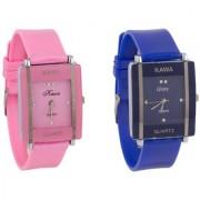TRUE CHOICE NEW Kawa Glory Combo Of Two Watches-Baby Pink Blue Rectangular Dial Kawa Watch For Women