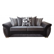 Vegas 3+2 Fabric Sofa Set - Grey or Brown - Grey/Black