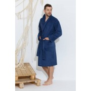 Evateks Классический синий махровый халат из натурального хлопка Evateks №363 Smoky Blue (Темно-синий)