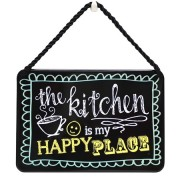 hang-ups! - tinnen bordje - the kitchen is my happy place