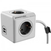 Halozati 220V hosszabbito/eloszto/USB tolto Allocacoc PowerCube Extended with USB 1,5m White/Grey BN3001/1402GY/DEEUPC