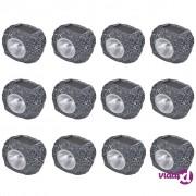 vidaXL Vanjski solarni LED reflektori u obliku kamena 12 kom