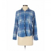 Universal Thread Long Sleeve Button Down Shirt: Blue Print Tops - Size Small
