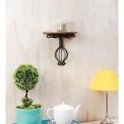 Onlineshoppee Wooden & Wrought Iron Wall Bracket Size (LxBxH-10x5x9) Inch