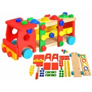 Set Montessori Camion din Lemn Multicolor cu Ciocan si Surubelnita, Dimensiuni 29x10.5x11cm