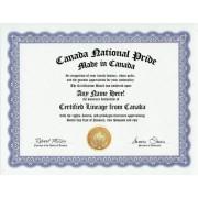 Canada Canadian National Pride Certification: Custom Gag Nationality Family History Genealogy Certificate (Funny Customized Joke Gift - Novelty Item)