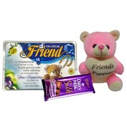 Saugat Traders Gift Combo For Friend - Friends Forever Soft Teddy, Friends Quotation & Dairy Milk Chocolate