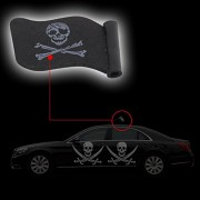AST Works 1pc Black Jolly Roger Pirate Flag Car Antenna Pen Topper Aerial Ball Decor Toys