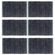 vidaXL Подложки за хранене, 6 бр, Chindi, антрацит, 30x45 см, памук