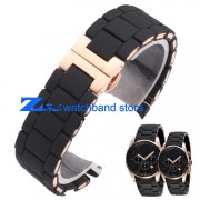 The Silicone Rubber Watchband Rose gold in Black AR silica gel for 5905 man 23mm 5906 woman 20mm watch band strap