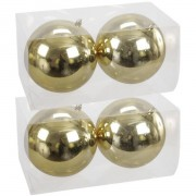 Bellatio Decorations 4x Grote kunststof kerstballen goud 15 cm - Kerstbal