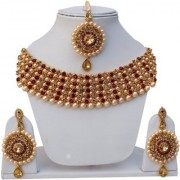 Lucky Jewellery Elegant Golden Maroon Color Gold Plated Pearl And Stone Necklace Set For Girls Women