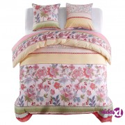 vidaXL Trodijelni set posteljine cvjetni/prugasti 240 x 220 / 60 x 70 cm ružičasti