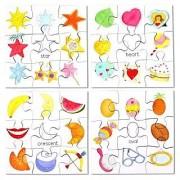 Bigjigs Toys BJ083 Shapes Puzzles Set 2 (Set of 4)