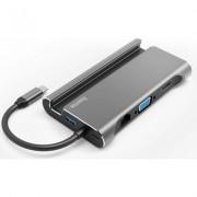 Докинг станция 7 в 1 HAMA 135764, 3x USB-A 3.1, HDMI™, VGA, LAN, USB-C (PD), Сив