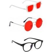INSH Round, Retro Square, Cat-eye Sunglasses(Black, Clear)