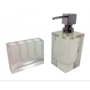 Retro Nouveau Bath Accessories Toothbrush Holder and Soap Dispenser Set (White)