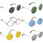 FDA COLLECTION Round Sunglasses(Black, Yellow, Blue, Grey, Silver, Green)